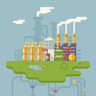 Retro Flat Factory Refinery Plant Manufacturing Products Process