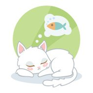 Cute cat sleeping and dreaming about fish on green background