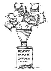 Flying Books Funnel E-Book Reader Drawing