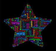 Star on Modern Communication and Technology Word Cloud