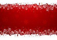 Christmas snowflake border on red