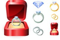 Engagement diamond wedding ring in red box