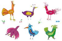 Colorful cute birds - set of characters