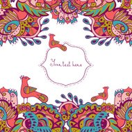 Invitation card with abstract flowers and birds. Vector card.