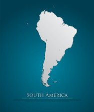 South America map card paper 3D natural