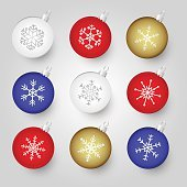 colorful christmas baubles with snowflake ornament eps10