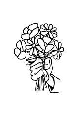 Holding flowers Vector Clipart