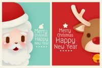 Adorable Santa and reindeer card