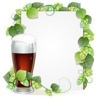 Beer glass  and hops branch