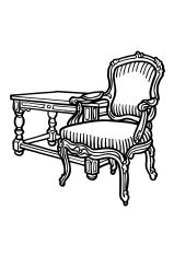 Antique chair and ottoman Vector Clipart