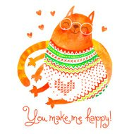 Watercolor hand drawn card with a cute cat.