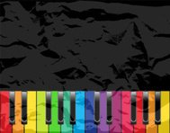 Piano with multicolored keys