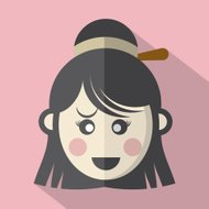 Traditional Chinese Woman's Face Icon Vector Illustration