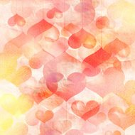 Vintage watercolor background of hearts