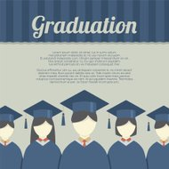 Group of Students In Graduation Gown And Mortarboard Vector Illu