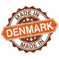 made in Denmark vintage stamp isolated on white background