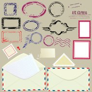 mail blank postmarks, stamps and envelopes - postage set.