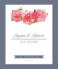 Save the date wedding invitation card with peonies
