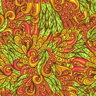 Seamless floral orange and green pattern