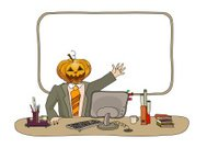 Office worker with pumpkin instead of head in Halloween day