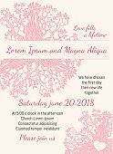 Invitation wedding card pink floral heart vector template