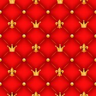 Red quilted texture with golden crowns, lilies and buttons.