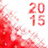 2015 square greeting card on red shiny holiday lights background