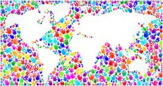 World Map royalty free vector Hands Pattern Background Graphic