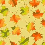 Mosaic maple leaf seamless pattern, vector autumn background