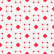 White geometrical ornament with red textured details