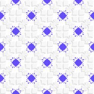 White geometrical ornament with textured blue details