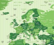 High Detail Green Europe Map