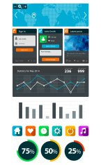 Set of flat web and user interface UI element