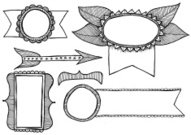 Hand Drawn Doodle Style Design Elements and Frames