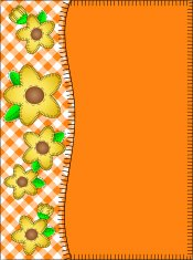 Orange side border of gingham yellow flowers and stitches.