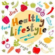Healthy lifestyle icons set isolated