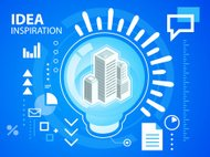 Vector bright illustration light bulb and buildings on blue back