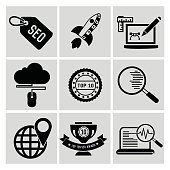 SEO and online marketing icon set,clean vector