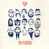 Funny people with beards on paper background