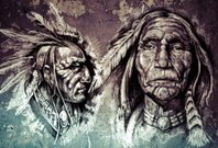Native american indian head, chiefs, retro style