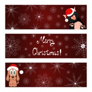 Xmas banners set with cat and dog wish you a