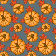 Pumpkins and maple leaves.