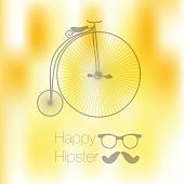 Hipster blur retro vintage label background with mustache and bicycle