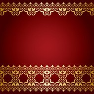 red and gold background with vintage border - vector