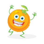 Cute orange on a white background. Vector character.