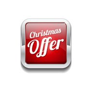 Christmas Offer Red Vector Icon Button