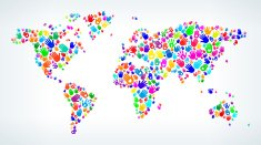 World Map on Hands Pattern White Background