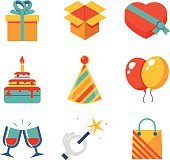 Isolated flat icons set Gift, Party, Birthday