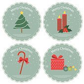 Christmas label and icon