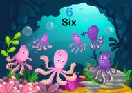number six octopus under the sea vector